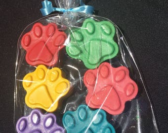 Paw Print Crayon Party Favors (10+ bags)- Paw Patrol birthday- Paw Patrol party