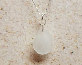 White Swirl-Ring Sea Glass Necklace- FREE SHIPPING!