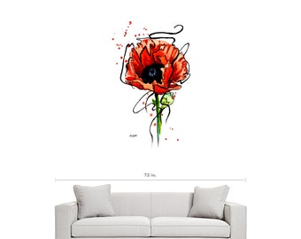 Wall Clings - Contemporary Art - Poppy - Flower Painting - Home Decor - Large Wall Art