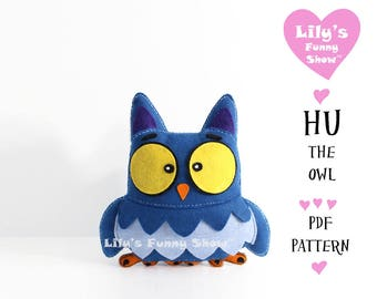 Owl Sewing Pattern - Felt PDF pattern--Instant Download- Felt Hand Sewing Pattern- DIY -Plush Felt Pattern - Softies Pattern