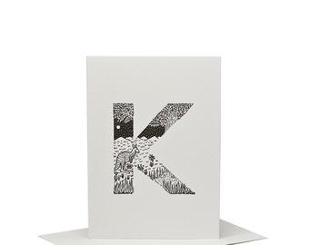 K for Kangaroo - Letterpress Print