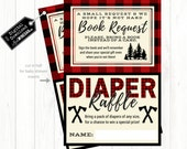 Lumberjack Woodland Baby Shower Inserts, Plaid Baby Shower Book Request & Diaper Raffle | INSTANT Download 4x6 JPG