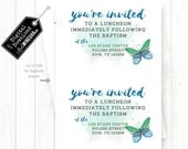 LDS Girl Baptism Insert, Whimsical Blue & Teal Butterfly Watercolor Baptism Insert | Personalized Digital Download 4x6 JPG