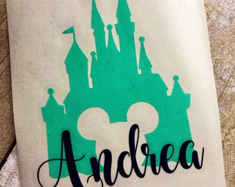 Castle decal / Disney inspired decal / Name decal / Vinyl decal / Vinyl sticker / Monogram car decal / Personalized decal / Yeti cup decal
