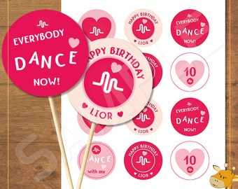 12 Musical.ly Cupcake toppers PERSONALIZED, birthday party, musicly party - Digital file