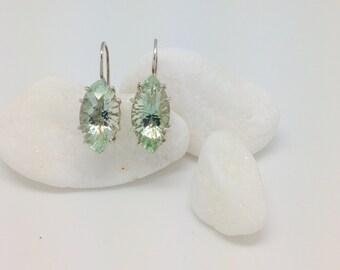 Argentium and Green Amethyst Earrings