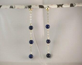 Earrings made with Lapis Lazuli, interchangeable earrings MoovClipEar®