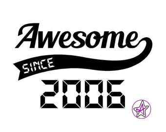 Awesome since... Iron-on T-shirt vinyl, personalised with year - Adult or Child size
