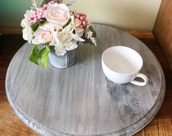 Driftwood gray solid wood lazy susan / rustic aged wood look / table decor organization rustic storage / 17 3/4""