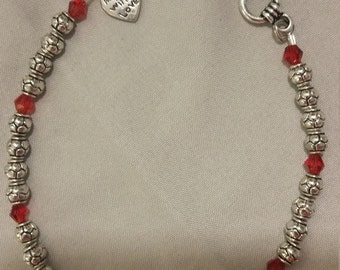 8 inch Slver Bracelet with Red glass bead accents