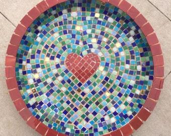 Mosaic Heart Birdbath