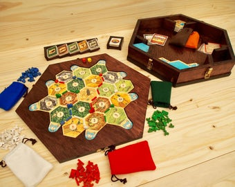 Settlers of Catan Game Board, Storage Unit and Card Holders - Maple