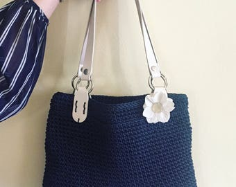 Bag with crochet flower