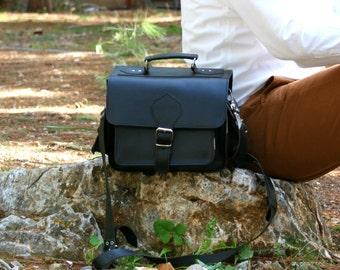 leather camera bag/ DSLR carry leather case/ camera shoulder bag/ camera leather satchel/ classic camera case in black color/ code 90