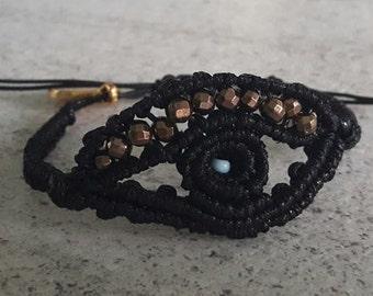 Evil Eye Macrame bracelet - Black color - handmade bracelet - macrame -protection bracelet