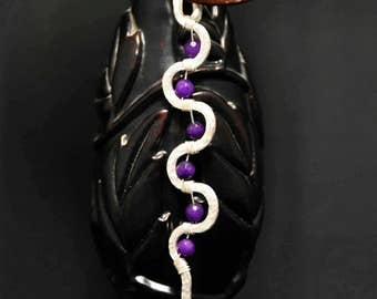 Silver and amethyst wire wrapped pendant