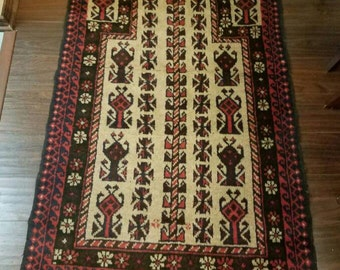 Semi-Antique BALOUCH rug / Nomad made in Afghanistan 4.10 × 2.9ft. & FREE Shipping