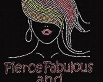"Rhinestone Birthday Fabulous""Pick your age to have applied to this design""Lightweight Ladies T-Shirt  or DIY Iron On Transfer         YCB3"