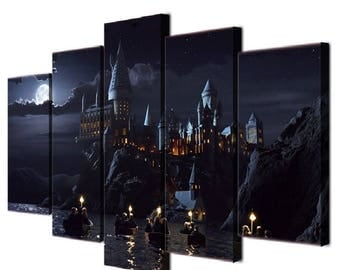 Harry Potter Hogwarts School Castle Gallery Wrap Multi Panel Ready To Hang Canvas Print Giclée