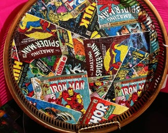 Marvel comic book bar tray