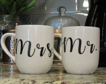 Mr. & Mrs. Mugs, Wedding Gift, Bridal Shower Gift, Anniversary Gift, Mugs with Sayings, Engagement Gift, Bride and Groom Mugs, Quote Mugs