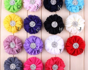 Free Shipping Beautiful Chiffon Metal Alloy Button Flower Accessories For Baby Fluffy Ruffled Flower For Hair Clips DIY Flower Supplies 2.8""