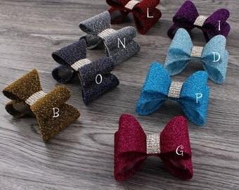 "3.2"" Hair Clips Newborn Luxe Gold Dust Hair Bows+Rhinestone Button for Headband Hard PVC Hair Bow Ties For Baby Girls Hair Accessories"
