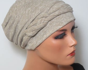 Cool BEANIE/Hat + braided belt light and airy beige mottled fashionable practically easy turban