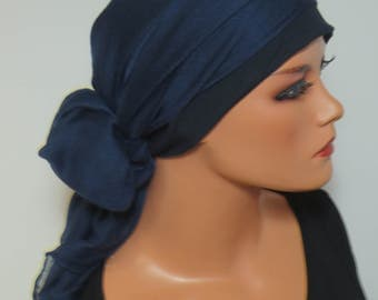Head scarf Hat/TURBAN ideal dark blue headgear b. chemotherapy alopecia hair loss chemo Hat cancer cancer therapy convertible cloth