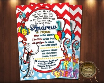 Dr. Seuss Invitation, Dr. Seuss Birthday Invitation, Dr. Seuss Birthday, Dr. Seuss Party, Dr. Seuss First Birthday
