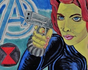 Black Widow Metallic Watercolor Print