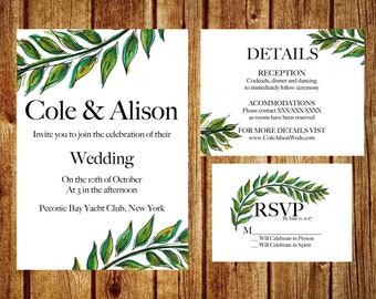 Botanically Green Wedding Invitation Set