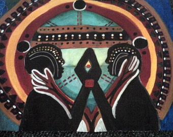 Tribal abstract soulmates original  painting