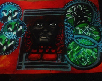Tribal  african man  abstarct original  painting
