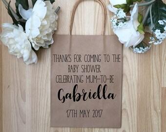 Kraft paper Bags, Baby Shower guest Gift Bags, Baby Shower Gift Bags, New Baby Gift Bags, Party Gift Bags, Personalised Bags,
