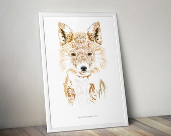 Foxy - Fox, wildlife print, animal illustration, A4 art print, realism, geometric, gift idea