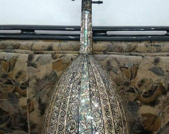Genuine Authentic Natural Arabic Oud Mother Of Pearl String Instrument Fretless Lute + Padded Bag
