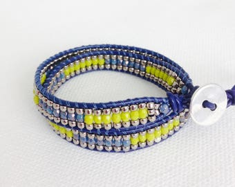 Leather Wrap Bracelet in Navy Blue and Green