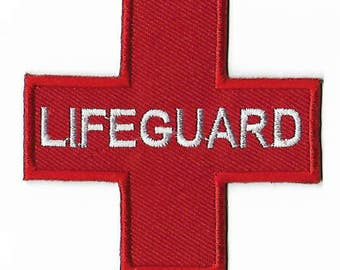 Red Lifeguard Patch DIY Embroidered Iron or Sew on Badge Green Applique Paramedic Life Guard Pool Beach Bag Costume Jacket Shorts Bag Vest