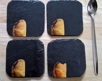 Cornish pasty coasters on reclaimed slate
