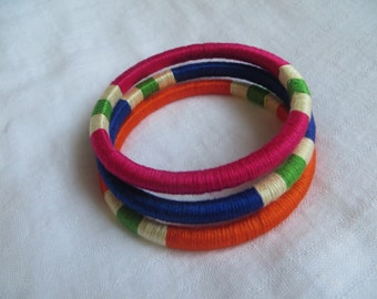 "set of 3 thread wrapped bangles ""Patang"" (Kite)"