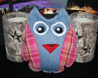 OWL, mini pillow, stuffed animal, with bag