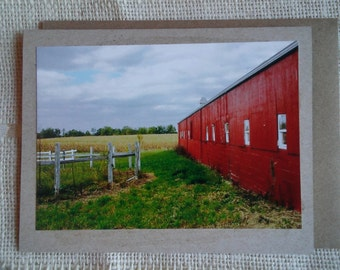 """Blank note cards. Original photography on kraft brown card. """"Old Red Barn"""" Set of 3"""