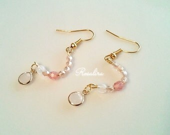 Softer circle motif earrings with Czech glass beads pink
