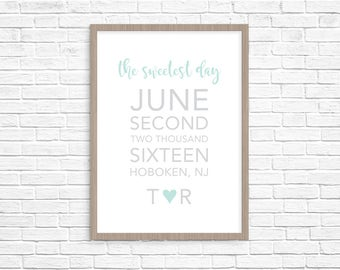 Sweetest Day . Personalized Print . Anniversary Gift . Bridal Shower Gift . Wedding Gift . Home Wall Art