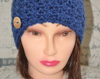 Handmade Knit Crochet Beanie, Hat with Button, in Navy Blue.