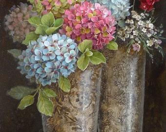 Still life with hydrangeas in silver goblets - 50x80 cm