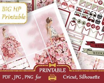 BIG Happy Planner Stickers 2018 Pink Planner Printable Sticker Glam Weekly Kits Printable Fashion Big HP Vertical Happy Planner COUPON codes