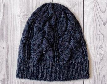 Women's Knit Hat / Dark blue Knitted hat / Handmade hat