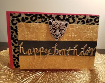 Leopard Medallion Card in Red, Unique Birthday Card,Handmade Greeting Cards, Happy Birthday